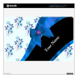 Pretty blue floral flower pattern MacBook air decal