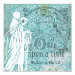 Pretty Blue Floral Once Upon a Time Wedding Invite