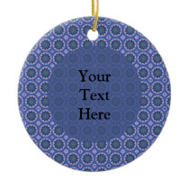 Pretty Blue Floral Pattern Ceramic Ornament