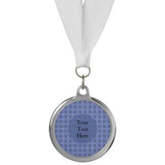 Pretty Blue Floral Pattern Medal