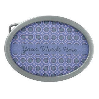 Pretty Blue Floral Pattern Oval Belt Buckle