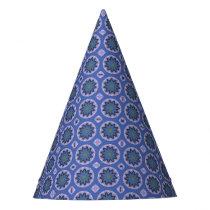 Pretty Blue Floral Pattern Party Hat