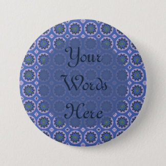 Pretty Blue Floral Pattern Pinback Button