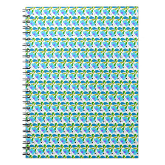 Pretty Blue Floral Pattern Spiral Notebook