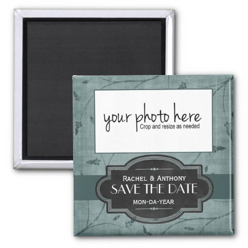 Pretty Blue Floral & PHOTO Save the Date Magnet