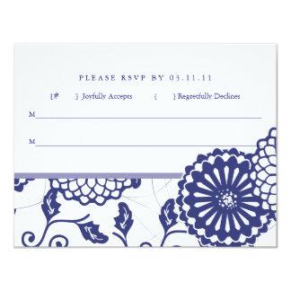Pretty Blue Floral RSVP Card
