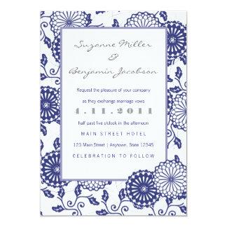 Pretty Blue Floral Wedding Invitation