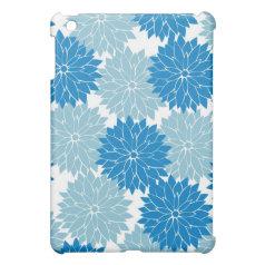 Pretty Blue Flower Blossoms Floral Pattern iPad Mini Case