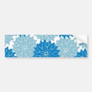 Pretty Blue Flower Blossoms Floral Pattern Print Bumper Sticker