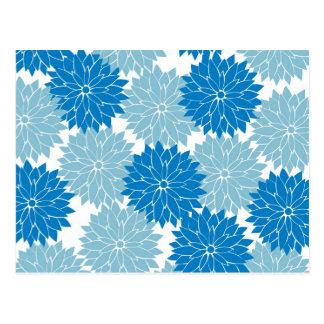 Pretty Blue Flower Blossoms Floral Pattern Print Postcard