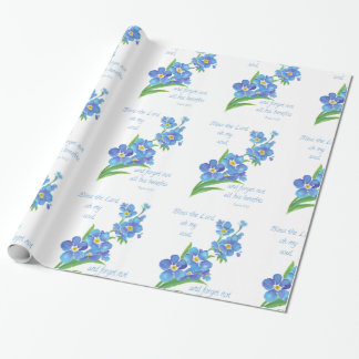 Pretty Blue Flower Forget me Not, Bless the Lord Wrapping Paper