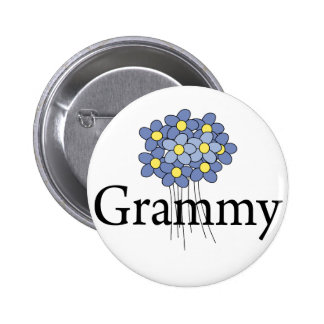 Pretty Blue Flower Grammy T-shirt Button