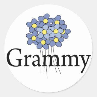 Pretty Blue Flower Grammy T-shirt Classic Round Sticker