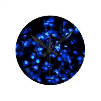 Pretty Blue Flower Lights Round Clock