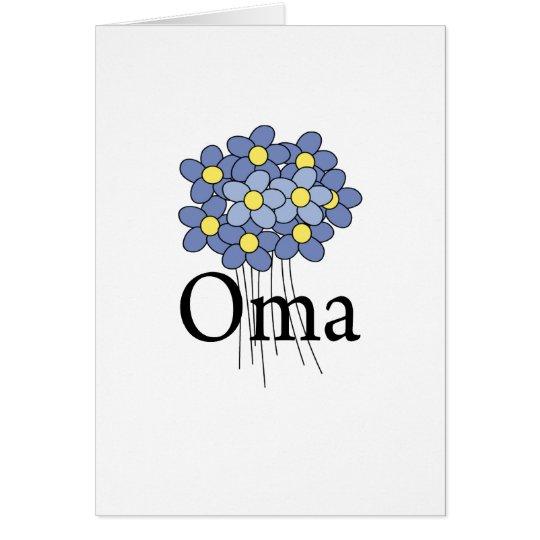 Pretty Blue Flower Oma T-shirt Card