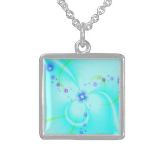 Pretty Blue Flower Sterling Silver Necklace
