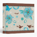 pretty blue flowers and animals pattern 3 ring binder