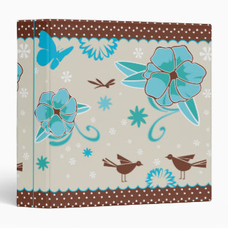 pretty blue flowers and animals pattern binder