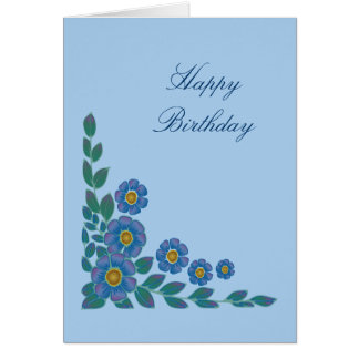 Pretty Blue Flowers Birthday Card