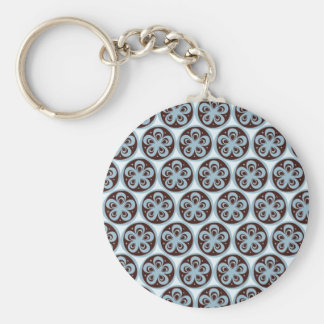Pretty Blue Flowers in Circle Pattern Custom Gifts Keychain