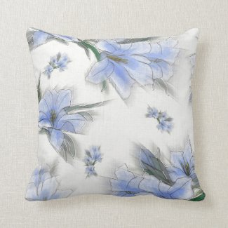 Pretty blue flowers pillows