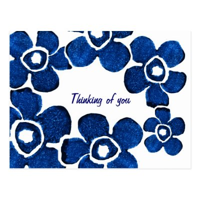 Pretty Blue Flowers Thinking of You Postcard