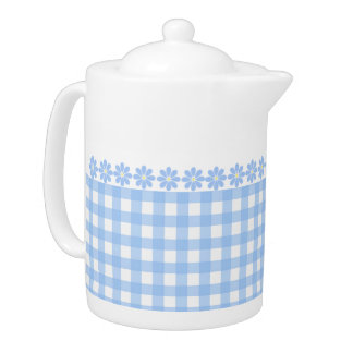 Pretty blue Gingham and Flowers Teapot