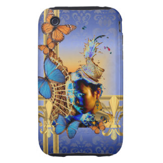 Pretty blue girl and butterflies tough iPhone 3 case