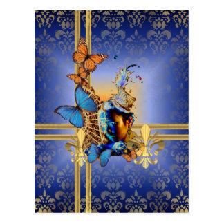 Pretty blue girl and butterflies postcard