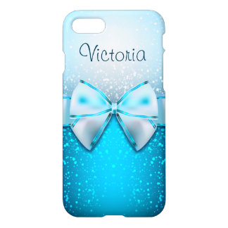 Pretty Blue Glitter Holiday Modern White Gift Bow iPhone 8/7 Case