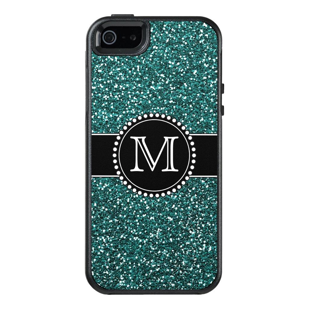 Pretty Blue Glitter Monogrammed Otterbox OtterBox iPhone 5/5s/SE Case