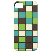 Pretty Blue Green Brown Cream Mosaic Tile Pattern iPhone 5 Case