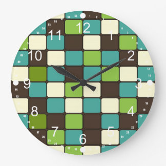 Pretty Blue Green Brown Cream Mosaic Tile Pattern Large Clock