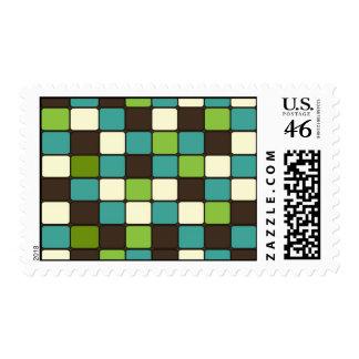 Pretty Blue Green Brown Cream Mosaic Tile Pattern Postage Stamp