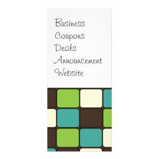 Pretty Blue Green Brown Cream Mosaic Tile Pattern Rack Card