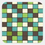 Pretty Blue Green Brown Cream Mosaic Tile Pattern Stickers