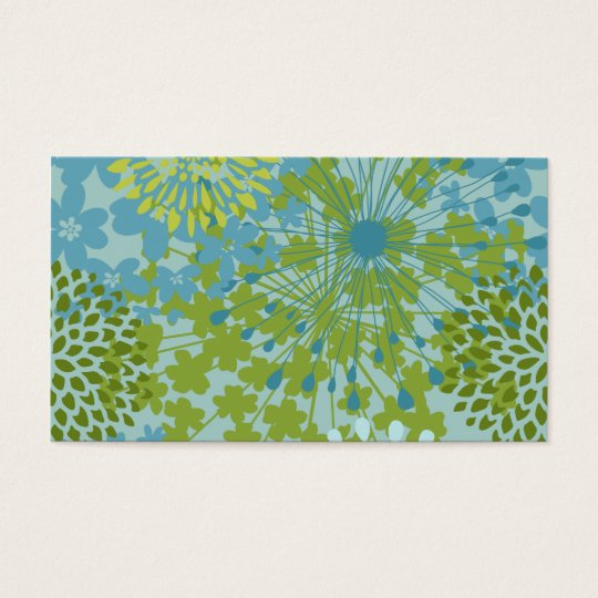 Pretty Blue Green Flower Floral Line Art Pattern Business Card