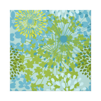 Pretty Blue Green Flower Floral Line Art Pattern Canvas Print