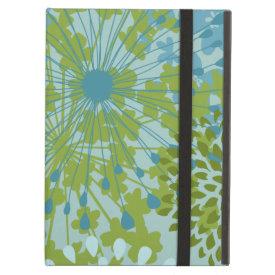Pretty Blue Green Flower Floral Line Art Pattern iPad Folio Case
