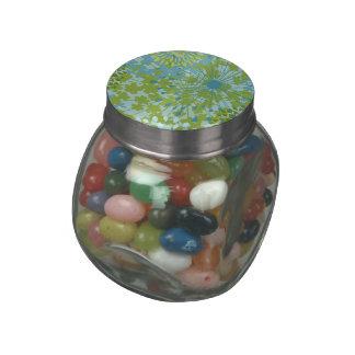 Pretty Blue Green Flower Floral Line Art Pattern Jelly Belly Candy Jars
