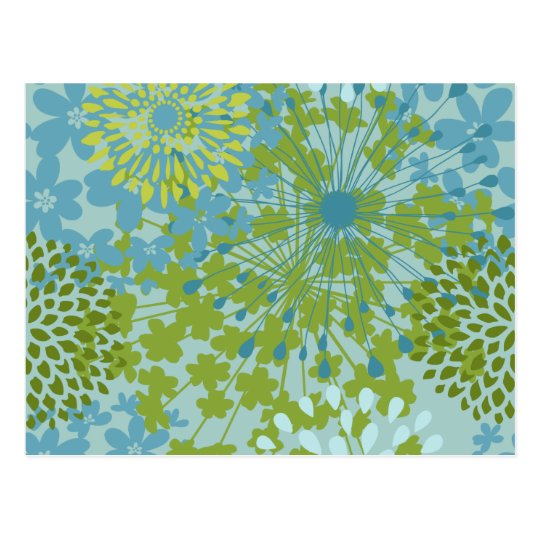 Pretty Blue Green Flower Floral Line Art Pattern Postcard