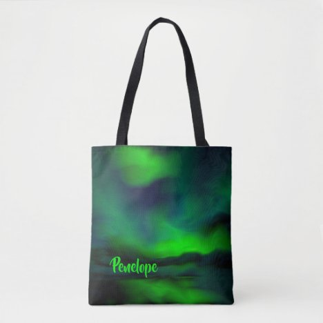 Pretty Blue Green Northern Lights and Your Name Tote Bag