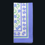 """Pretty Blue Green Periwinkles Floral Square Border Cloth Napkin<br><div class=""""desc"""">A set of very pretty Cloth Dinner Napkins,  with a border pattern of Blue Periwinkle flowers and Green foliage. Part of the Posh and Painterly &#39;Periwinkle Patch&#39; collection,  this pattern can easily be customized to fit any Napkins.</div>"""