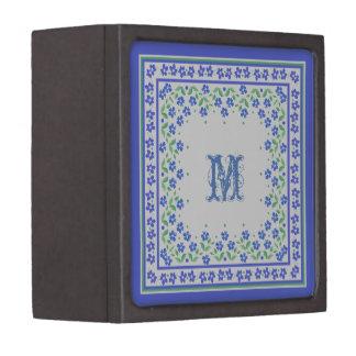 Pretty Blue Green Periwinkles Floral Square Border Jewelry Box