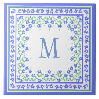 Pretty Blue Green Periwinkles Floral Square Border Tile