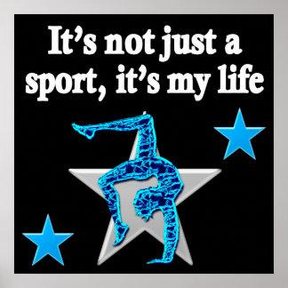 PRETTY BLUE GYMNASTICS IS MY LIFE DESIGN POSTER