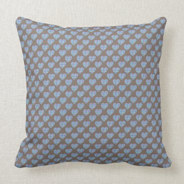 Beach Themed Pretty blue hearts on cocoa brown throw pillow