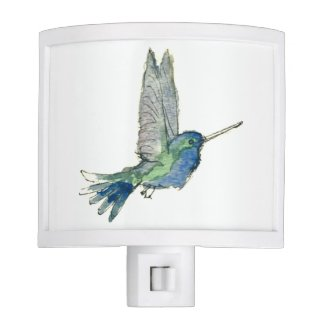 Pretty blue hummingbird night light