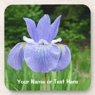 Pretty Blue Indigo Siberian Iris Flower Bloom Coaster