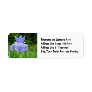 Pretty Blue Indigo Siberian Iris Flower Bloom Label